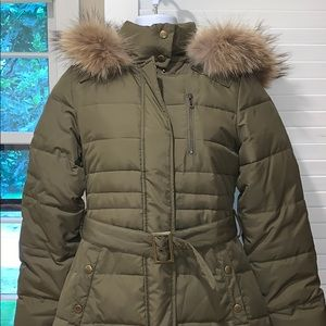 Army green long winter jacket